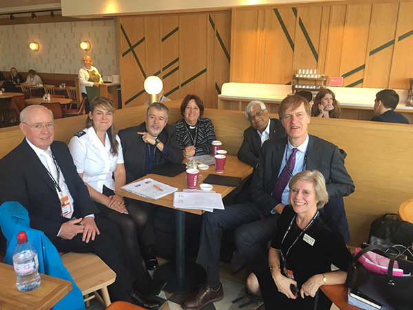 The picture shows the JPIT church Leaders delegation meeting with Stephen Timms MP at the Labour Party Conference in Liverpool