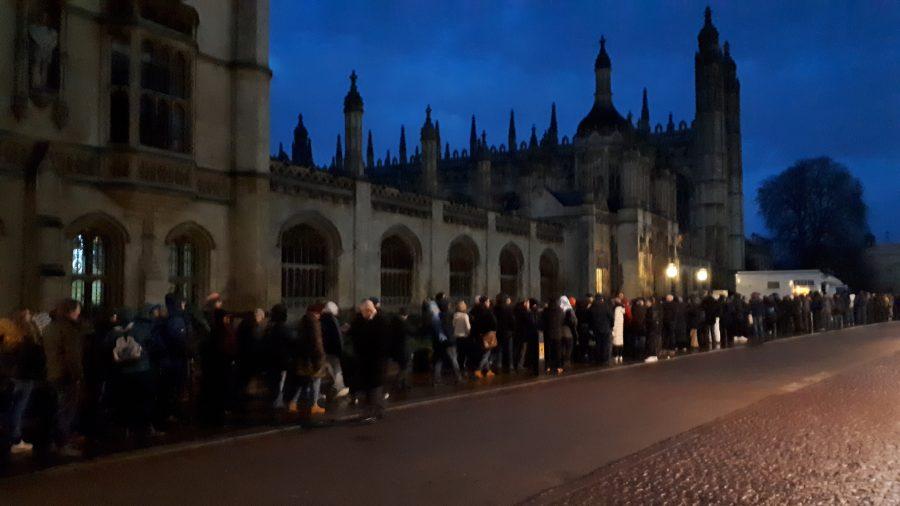 image of queue outside a church